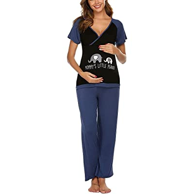 ANJUNIE Tops+Pants Pajamas Set Suit for Women Maternity Short Sleeve Nursing Baby T-Shirt Sleepwear Loung: Clothing