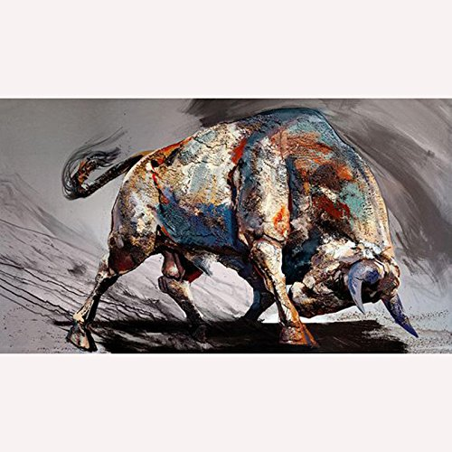 HANDBEMALT Moderne Stil Abstrakt Stierkampf Ölgemälde Wandschmuck Leinwand Home Wand Wohnzimmer Art Artwork feine, canvas, 24x48inch(60x120cm)