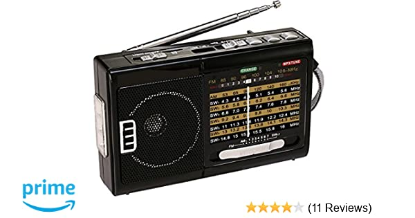 QFX R-3 AM//FM//SW1//SW2 Retro-Styled Handheld 4-Band Radio LED Power Indicator