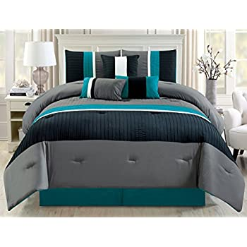 Amazoncom Modern Piece Oversize Teal Blue Grey Black Pin - Black and teal comforter sets