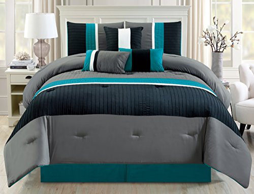 Modern 7 Piece Oversize Teal Blue / Grey / Black Pin Tuck Stripe Comforter Set Queen Size Bedding with Accent Pillows 94
