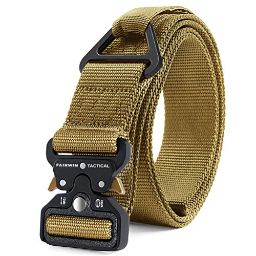 (Fairwin Tactical Rigger Belt, Military Style 1.5 Inch Nylon Webbing Belt with V-Ring Heavy-Duty Quick-Release Buckle Mens Belt for Cargo Pants Jeans)