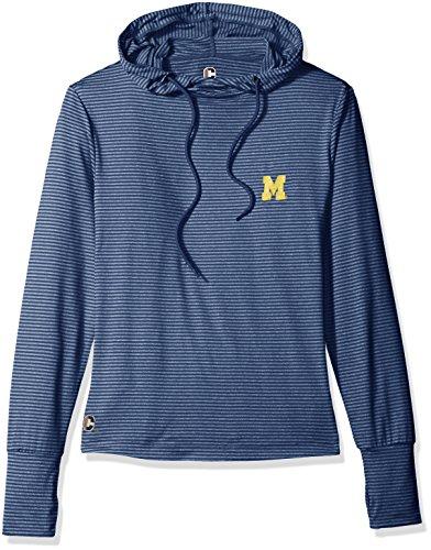 (Crable NCAA Michigan Wolverines Women's Stripe Drawstring Hoodie, X-Large,)