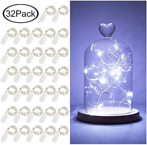 LoveNite Starry String Lights, 32 Pack Battery Operated 20 LED Fairy Lights Silver Wire Colorful Mini String Lights for DIY, Party, Decor, Christmas, Halloween,Wedding Cool White