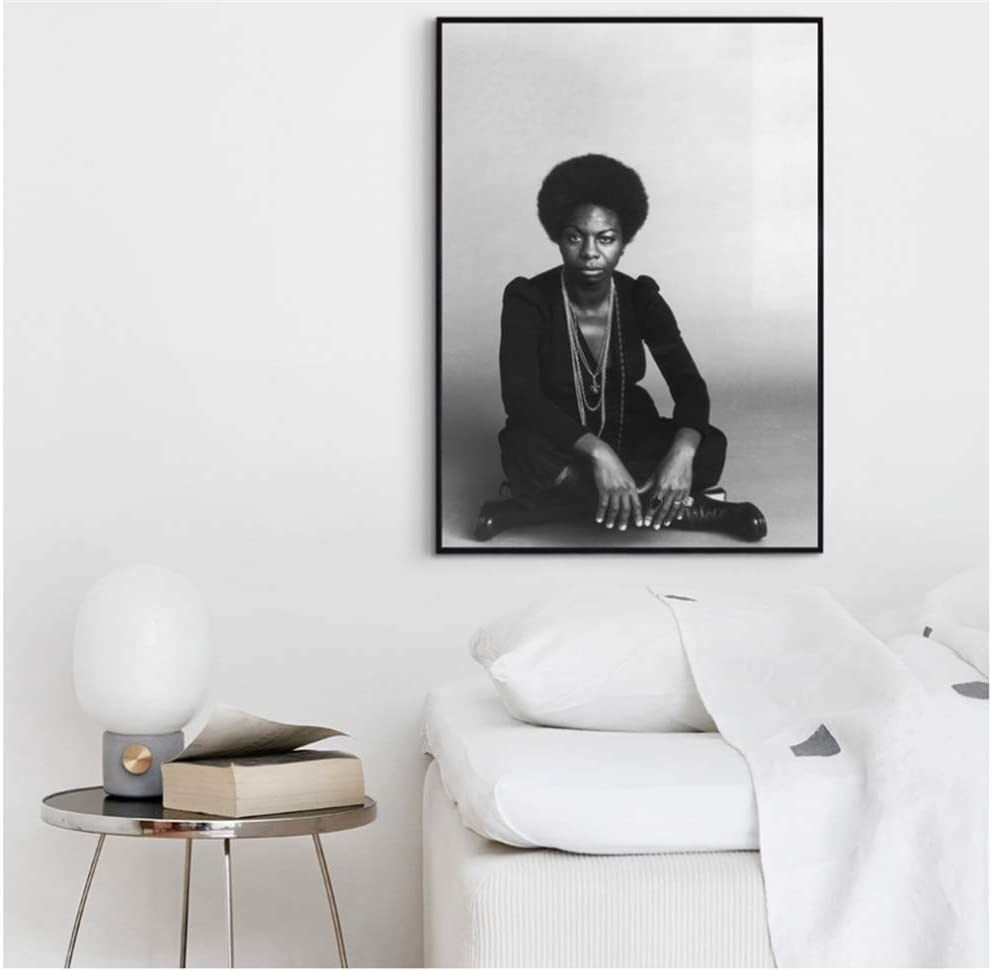 wzgsffs Nina Simone Singer Music Poster Hip Hop Rap Print Music Band Star Poster Wall Art Painting Room Home Decor Canvas Print///-60x80cm Sin Marco