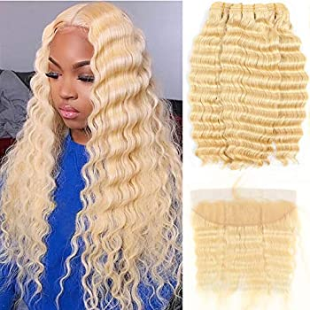 Image of ALOT 613 Bundles with Frontal Blonde Deep Wave Human Hair 3 Bundles and Lace Frontal Malaysian Honey Blonde Hair Transparent Color Lace with Baby Hair Can Be Dyed (182022+16', deep)