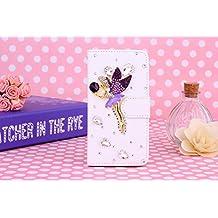 Samsung Galaxy Win Pro G3812 Case, iNenk® PU Leather Purse Case w/Card ID Holder White Luxury 3D Fashion Handmade Glitter Bling Diamond Pearl Flip Crystal Wallet Card Stand Cover-Purple Angel