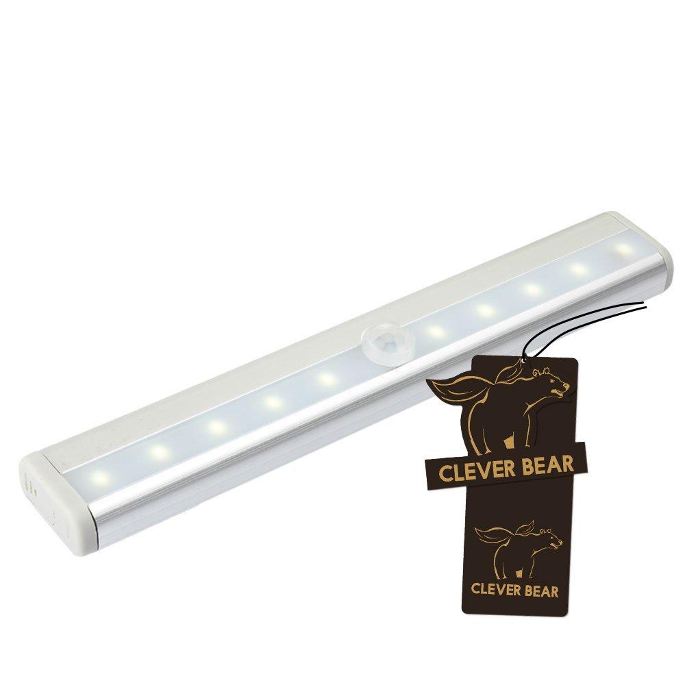Cleverベア10 LED夜間ライトモーションセンサーワイヤレスクローゼット階段ベッドルームキャビネットランプ SFB03142 B01FJVF5WC  ホワイト