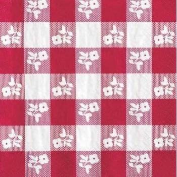 Creative Converting Paper Napkins, Two-Ply, 12 7/8 in x 12 3/4 in, Red Gingham, 50 per Carton (21188) -