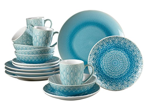 Euro Ceramica Peacock Collection 16 Piece Ceramic Reactive Crackleglaze Dinnerware Set, Peacock Feather Design, Turquoise