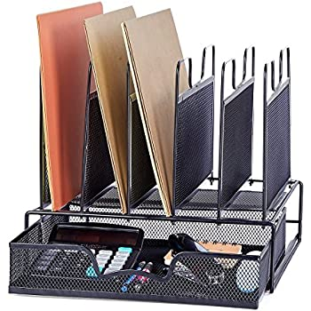 ProAid Office Mesh Desktop Organizer with 5 Vertical Sections, Desk File Organizer with 1 Drawer, Suitable for Organizing Files, Magazines, A4 Papers and Desk Accessories, Black