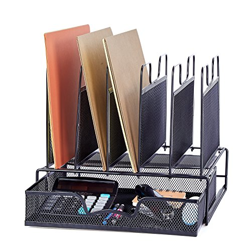 Adjustable File Dividers (ProAid Office Mesh Desktop Organizer with 5 Vertical Sections, Desk File Organizer with 1 Drawer, Suitable for Organizing Files, Magazines, A4 Papers and Desk Accessories, Black)
