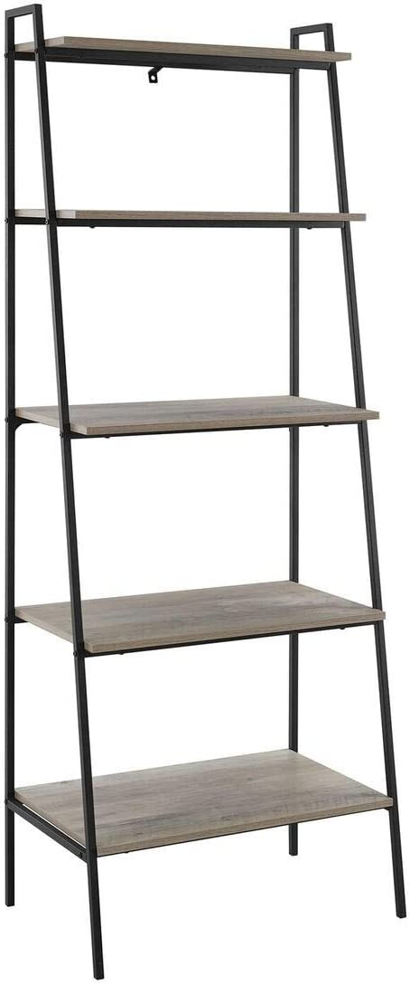 72 inch Metal and Grey Wash Wood Ladder Shelf