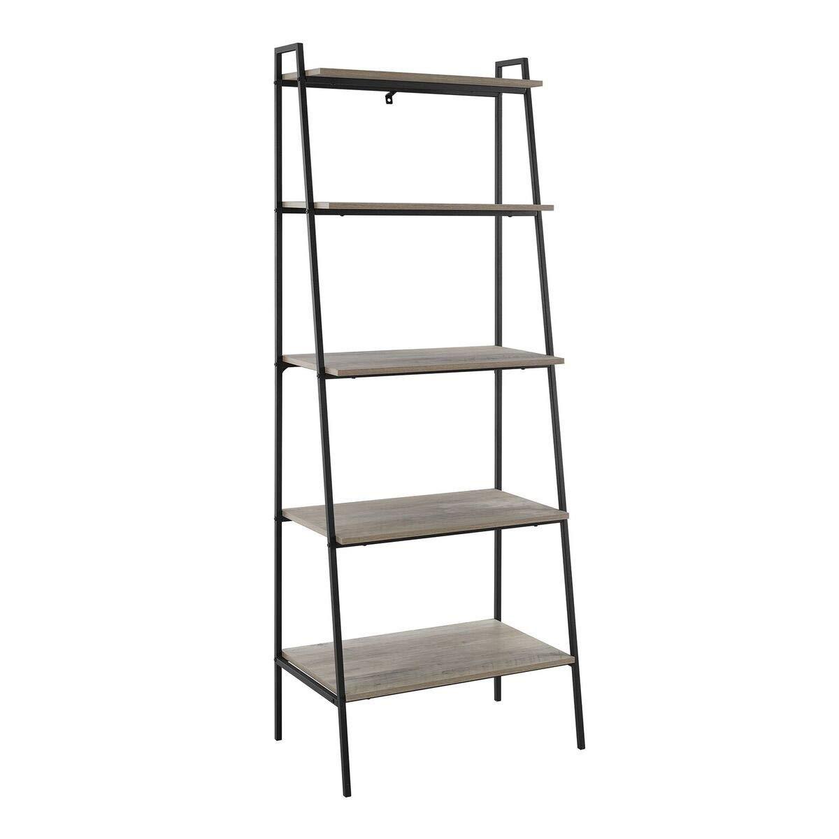 72 inch Metal and Grey Wash Wood Ladder Shelf