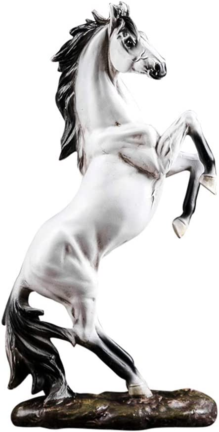 better us Horse Statue Figurines - Resin Standing Fighting Horse Sculpture Home Office Decoration Tabletop Decor Ornaments (White)