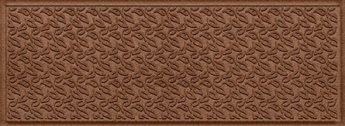 Collection Outdoor Floor (Bungalow Flooring Waterhog Indoor and Outdoor Runner Rug, Dogwood Leaf Collection, Skid Resistant, Catches Water and Debris, Easy to Clean, 22-Inches by 60-Inches, Ridged Leaf Design, Dark Brown)
