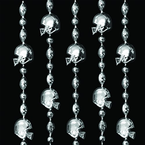 Silver Football Helmet Mardi Gras Bead Necklaces (Set of 48) (Football Mardi Gras Beads)