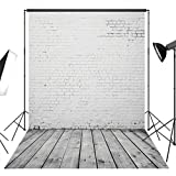DULUDA 5X7FT White Brick Wall Wooden Floor Pictorial cloth Customized photography Backdrop Background studio prop GMTX01