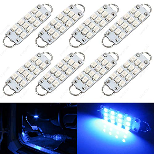(SAWE - 44mm 12-SMD 3528 Festoon LED Bulbs For Car Side Door Courtesy Rigid Loop 1.73