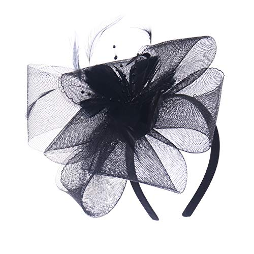 (Felizhouse Fascinator Hats Women Ladies Feather Cocktail Party Hats Bridal Headpieces Kentucky Derby Ascot Fascinator Headband (#4 Black))