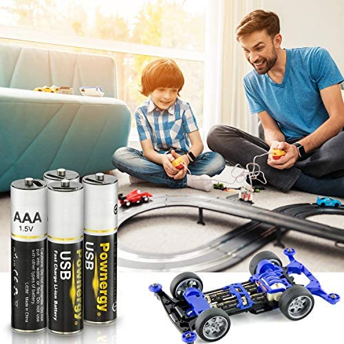 Rechargeable Lithium AAA Batteries 4Packs, 1100 mWh Rechargeable AAA Battery Constant Output 1.5V Li-ion AAA Battery, 2H Fast Charge with USB Cable, 1000 Cycles Life-Span for Toy Cars Toothbrush