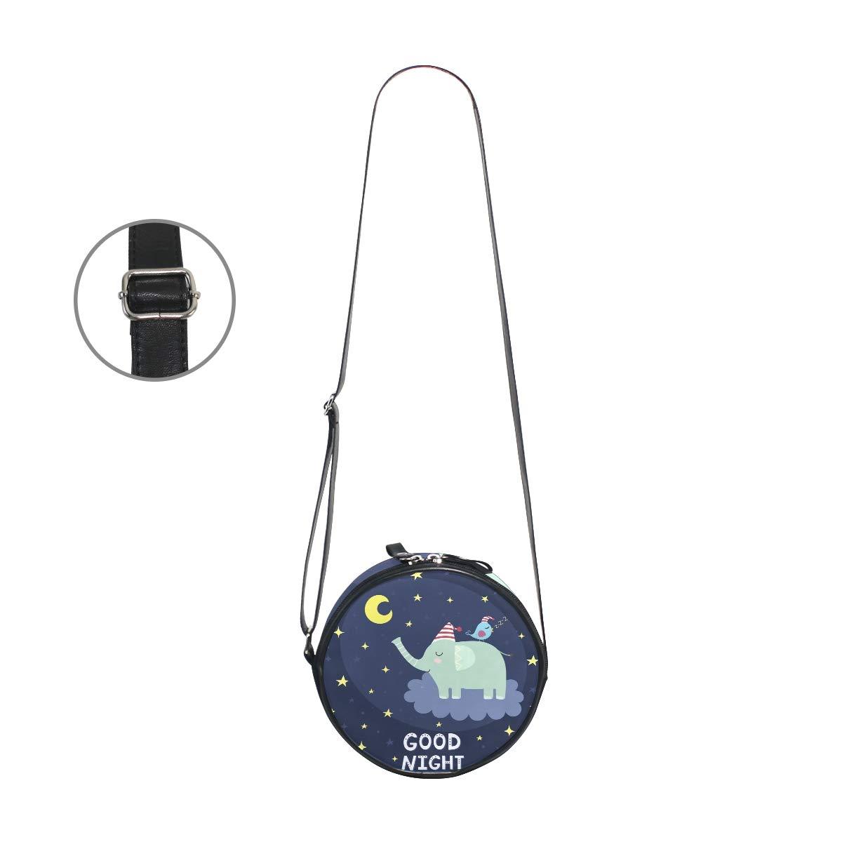 KEAKIA Good Night With Cute Elephant Round Crossbody Bag Shoulder Sling Bag Handbag Purse Satchel Shoulder Bag for Kids Women