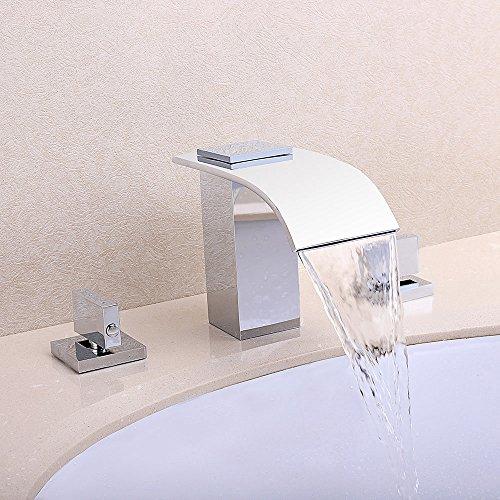 Jiuzhuo Modern Chrome Waterfall Double Handle Lavatory Bathroom Vanity Sink Faucet ()