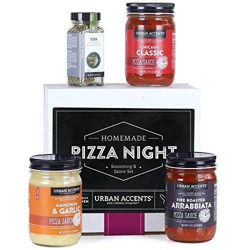 Any Occasion Kits - Urban Accents HOMEMADE PIZZA NIGHT, Pizza Sauce and Seasoning Set (Set of 4) - 3 Sauces and 1 Pizza Seasoning. Perfect for Weddings, Housewarmings or Any Occasion.