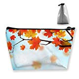 Trapezoid Toiletry Pouch Portable Travel Bag Maple Leaves Tree Pen Organizer