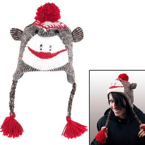 (Adult Size Brown Sock Monkey Knit Hat with PolyFleece Lining)