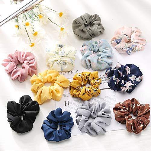 Fnova 12 Pack Scrunchies Flower Chiffon Scrunchies for Hair Big Hair Ties for Women Girls, Including 6 Colors Chiffon Hair Bow and 6 Solid Colors Chiffon Elastics Scrunchy Bobbles
