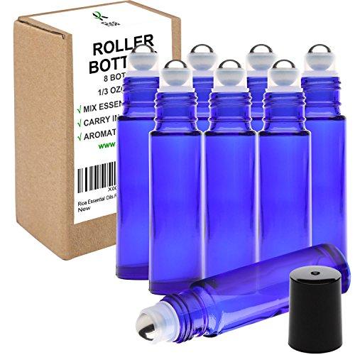 Rioa 10ml(1/3oz) Cobalt Blue Glass Roller Bottles With Stainless Steel Roller Ball for Essential Oil - Include 8 Extra Roller ball (8 Pieces Cobalt Blue)