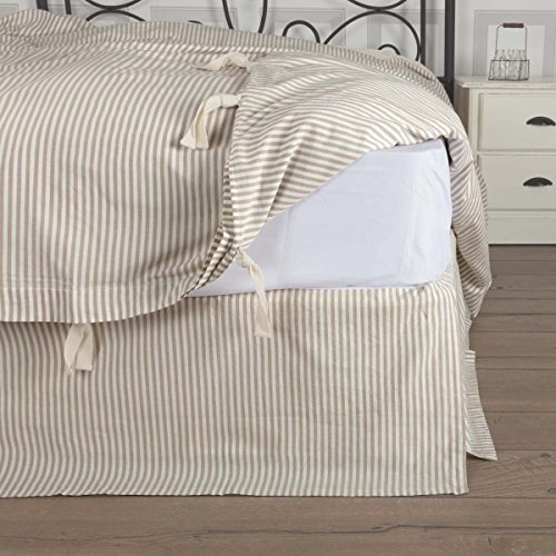 White Classic Bedskirt - Piper Classics Farmhouse Ticking Taupe Queen Bed Skirt, 60x80 w/ 16