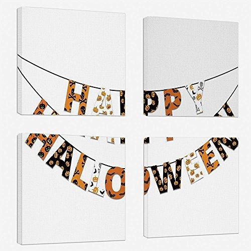 4pcs/set Modern Painting Canvas Prints Wall Art For Home Decoration Halloween Print On Canvas Giclee Artwork For Wall DecorHappy Halloween Banner Greetings Pumpkins Skull Cross Bones Bats Pennant Deco