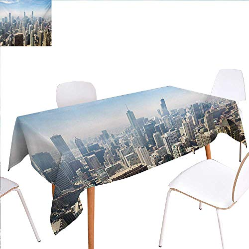 familytaste Cityscape Customized Tablecloth Aerial View of Chicago USA Tall Buildings Contemporary Architecture Skyscrapers Stain Resistant Wrinkle Tablecloth 60