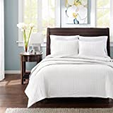 Madison Park Keaton Twin/Twin XL Size Quilt Bedding Set - White, Quilted – 2 Piece Bedding Quilt Coverlets – Ultra Soft Microfiber Bed Quilts Quilted Coverlet
