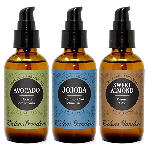 Edens Garden Carrier Oils Avocado, Sweet Almond, Jojoba, For Aromatherapy, Essential Oil or Massage 4 oz Value Pack (Soap Ounce 4 Eco)