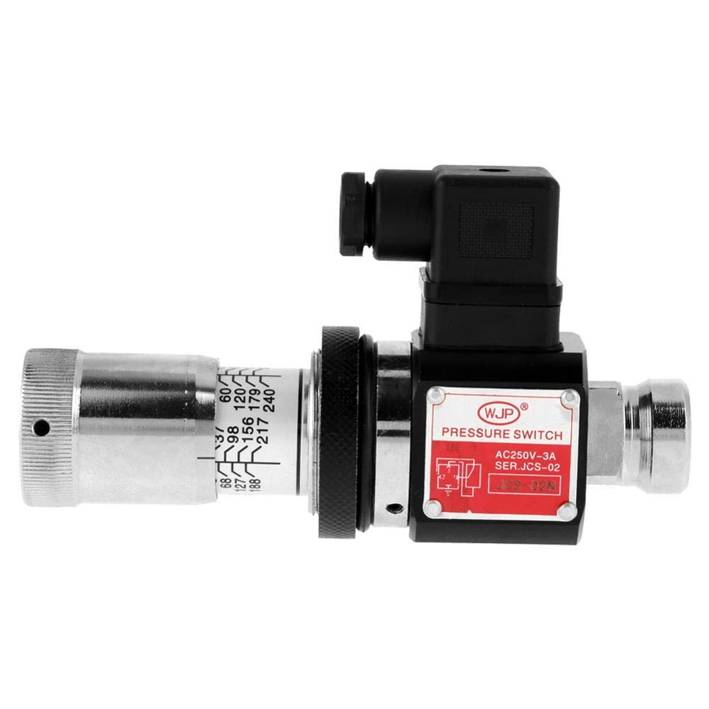Oil Pressure Switch JCS-02N Straight Through Tube Hydraulic Pressure Relay Switch Valve 30-210kg/cm² Walfront