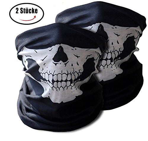 [Ski Face Mask, Auskio Motorbike Balaclava Mask 2 Pieces | Windproof Skull Face Mask for Motorcycle, Ski, Cycling, Snowboard, Costume | Soft Material No Chemicals and Smell for Kids and] (Ski Costumes)