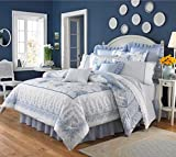 4 Piece Bordered Floral Printed Pattern Comforter Set King Size, Featuring Reversible Shabby Chic Ruffled Design Comfortable Bedding, Stylish French Country Inspired Bedroom Decoration, Blue, Multi