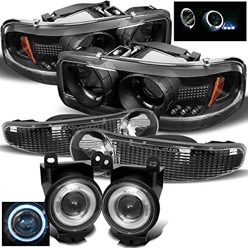 Xtune for 2000-2006 GMC Sierra/Yukon Denali Black Halo Projector Headlights Set + Halo Projector Fog Lights 2001 2002 2003 04