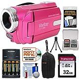Vivitar DVR-508 HD Digital Video Camera Camcorder (Pink) with 32GB Card + Batteries & Charger + Case + Tripod + Kit