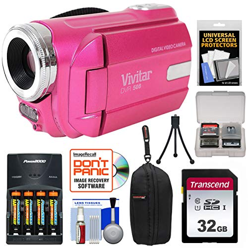 - Vivitar DVR-508 HD Digital Video Camera Camcorder (Pink) with 32GB Card + Batteries & Charger + Case + Tripod + Kit