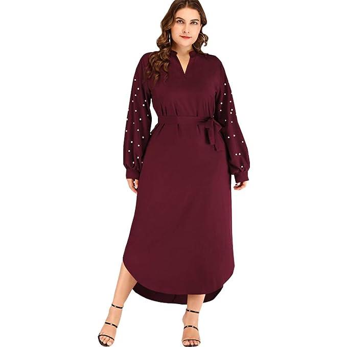 LOPDJSEG Women Plus Size Long Sleeve Maxi Dress V Neck Floor ...