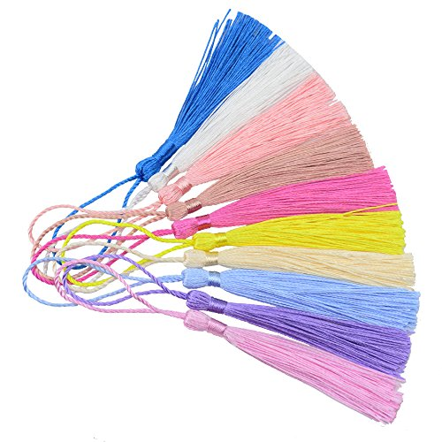 (Mixed 100pcs 13cm/5 Inch Silky Floss Bookmark Tassels with 2-Inch Cord Loop and Small Chinese Knot for Jewelry Making, Souvenir, Bookmarks, DIY Craft Accessory (Mixed 1 Updated))