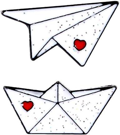 CoSunny Origami - Pin de solapa para barco (2 unidades, esmaltado), diseño de avión, color azul