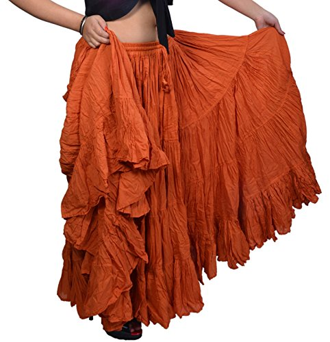 Wevez Women's Gypsy 25 Yard Solid Color Cotton Skirt (Copper) ()