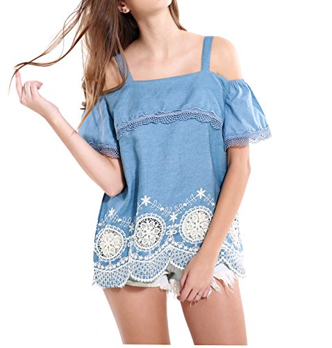 Salen Womens Shoulder Flounced T shirt