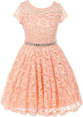 Big Girl Cap Sleeve Lace Skater Stone Belt Flower Girls Dresses (19JK88S) Peach 16