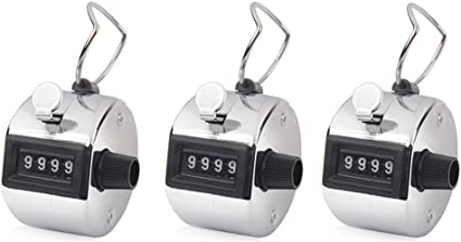 3 Pack 4 Digit Hand Held Tally Counter Clicker with Finger Ring Buytra Hand Tally Counter